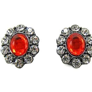 side view of earrings with large oval orange gems