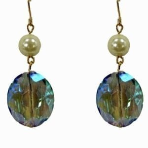 earrings with blue gemstones and pearls