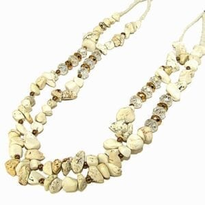 layered necklace with pale yellow beads