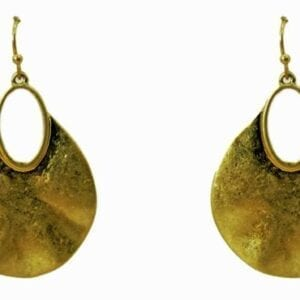 pair of golden earrings with rough finish