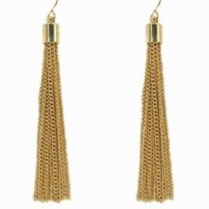 earrings with golden chain tassels