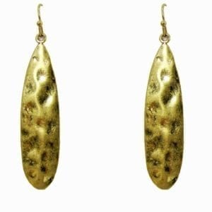 golden elongated earrings with pounded metal texture