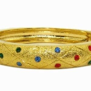 golden bracelet with multicolored crystals studs