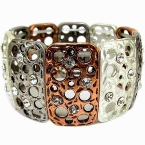 bangle with bronze and silver bars with white crystal studs