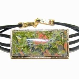 bracelet with large green rectangular pendant