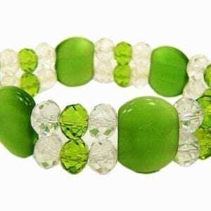 bracelet with yellow green gems and white crystals