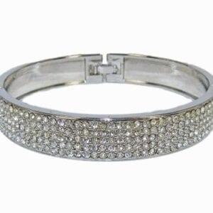 silver bangle with rows of diamond inlays