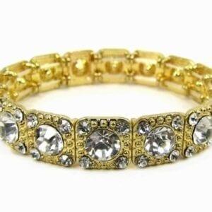 golden bracelet with diamond inlays