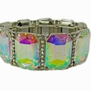 silver bracelet with rainbow-colored gems