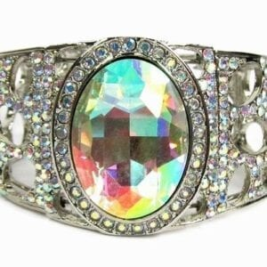 bangle with large rainbow-colored crystals