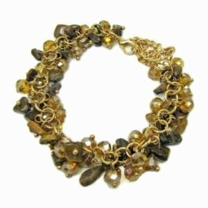 bracelet with clusters of dark yellow brown beads
