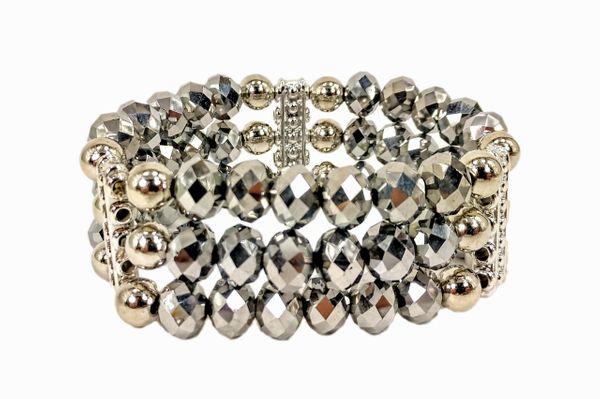 bracelet with three rows of silvery bead crystals