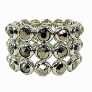 bracelet with three rows of dark crystals