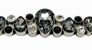 bracelet with large, dark teardrop crystals