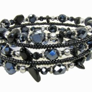 bracelet with dark crystals and black beads