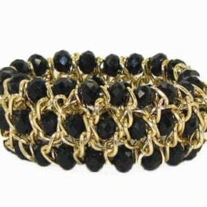 bracelet with gold wiring and black crystals