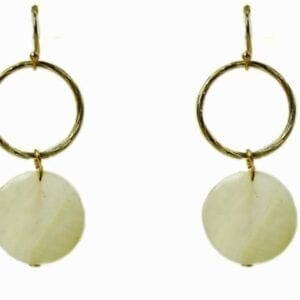 earrings with brown rings and white stone pendants