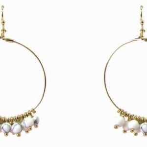 circular earrings with solid white beads