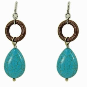 earrings with brown rings and turquoise pendants