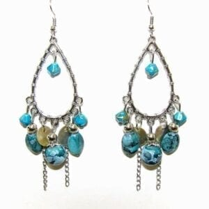 earring with teardrop-shaped wire and blue gem attachments