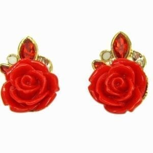 earrings with red rose pendant