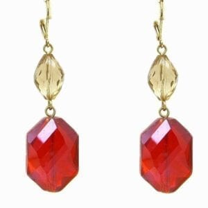 earrings with pale yellow and scarlet gems