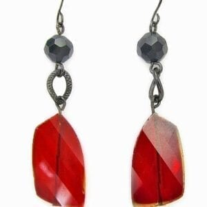 earrings with black beads and flat red stone pendants