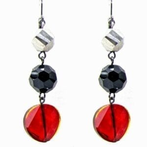 earrings with black, silver, and red gems