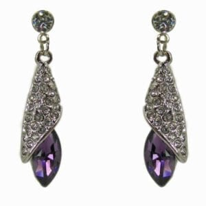earrings with silver metal design and violet gem