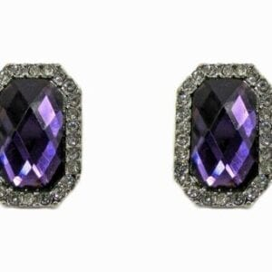 earrings with square-cut gemstones
