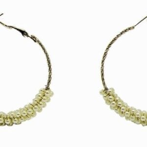 pair of earrings with rows of twisted pearls