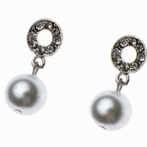 earrings with silver fastener and pearl