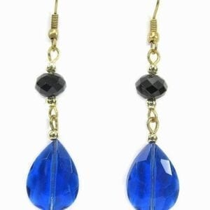 earrings with blue crystal and black beads