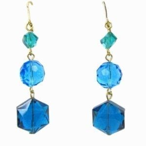 earrings with three blue crystals each