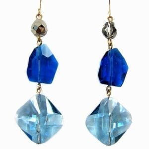 earrings with blue crystal pendant and dark blue stone accents