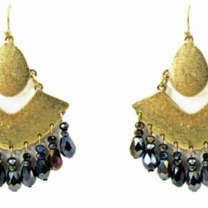 earrings with gold ornaments and hanging black gems