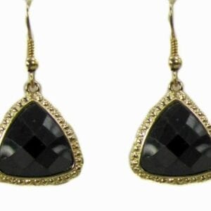earring with large, black, triangular gems