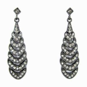 layered teardrop earring with white crystals