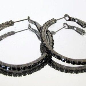 black earrings with dark gems