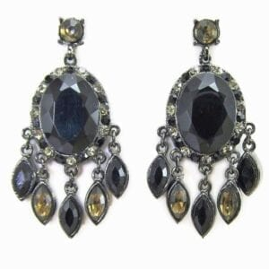 earrings with black crystal pendant with smaller crystal attachments