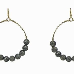 earrings with rows of dark stones