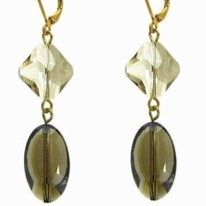 earrings with greenish-brown crystals
