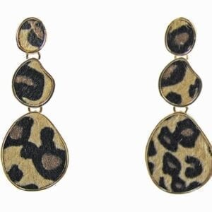 earrings with animal-pattern pendants