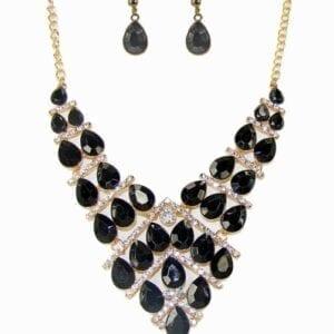 geometric necklace with dark teardrop crystals