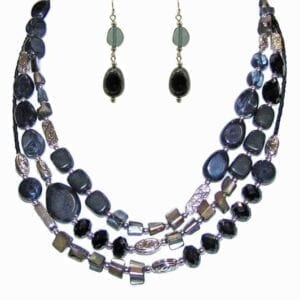 layered necklace with dark blue stones and silver beads
