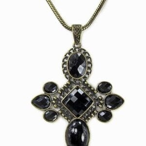 necklace pendant with black crystals