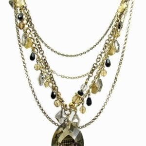 layered necklace with olive beads and large olive gem