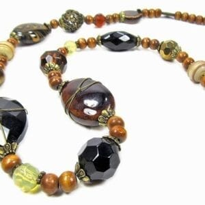 beaded necklace with brown and black stones