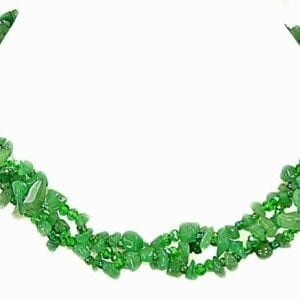 necklace with clusters of jade beads