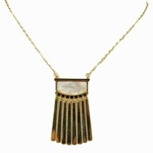 necklace with rectangular pendant and hanging gold bars